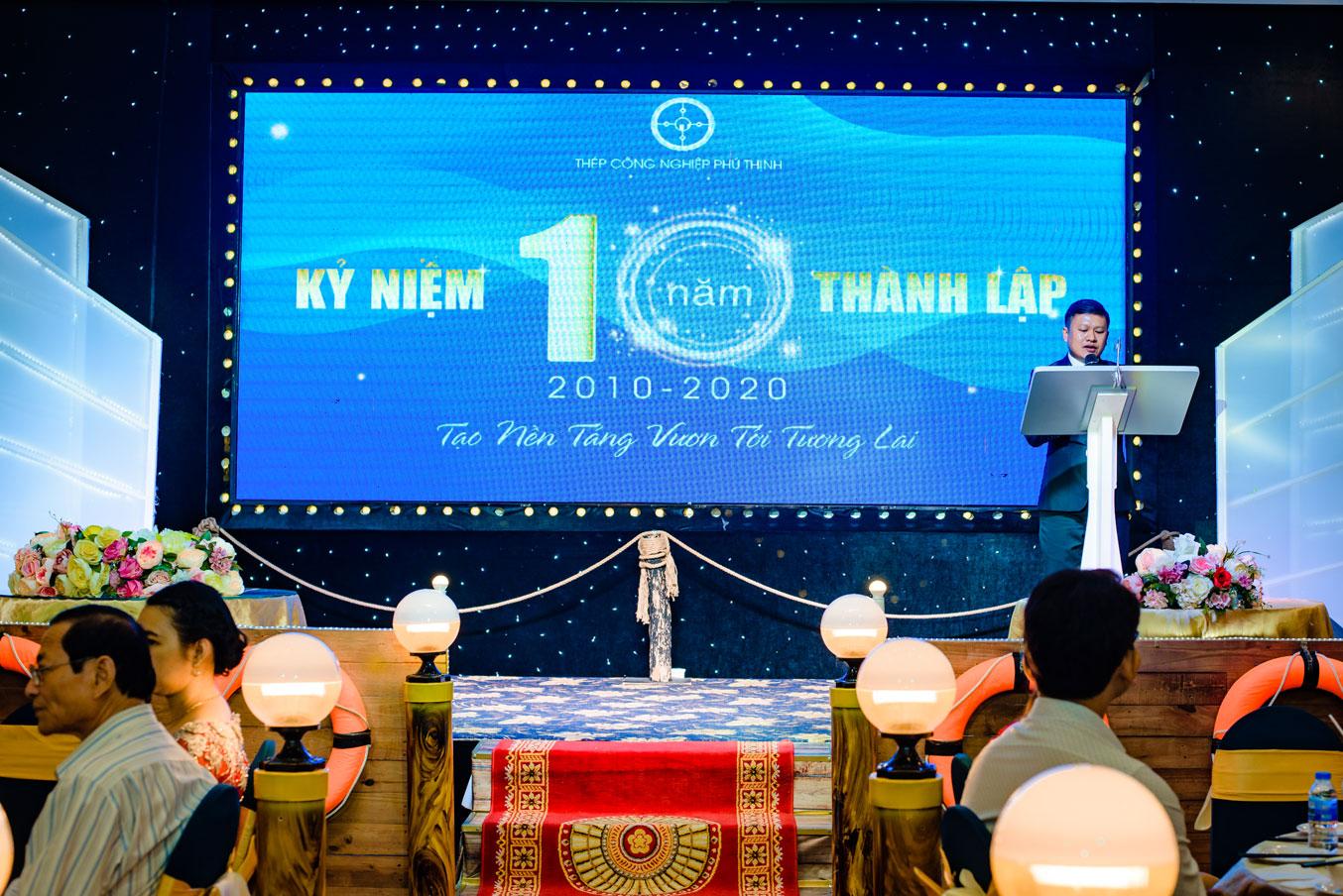 Ông Hà Thanh Tường - Giám đốc Thép công nghiệp Phú Thịnh có đôi lời phát biểu trong ngày lễ trọng đại này