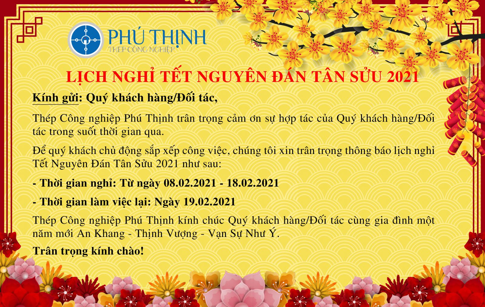 Lịch nghỉ tết Tân Sửu 2021 - Thép công nghiệp Phú Thịnh