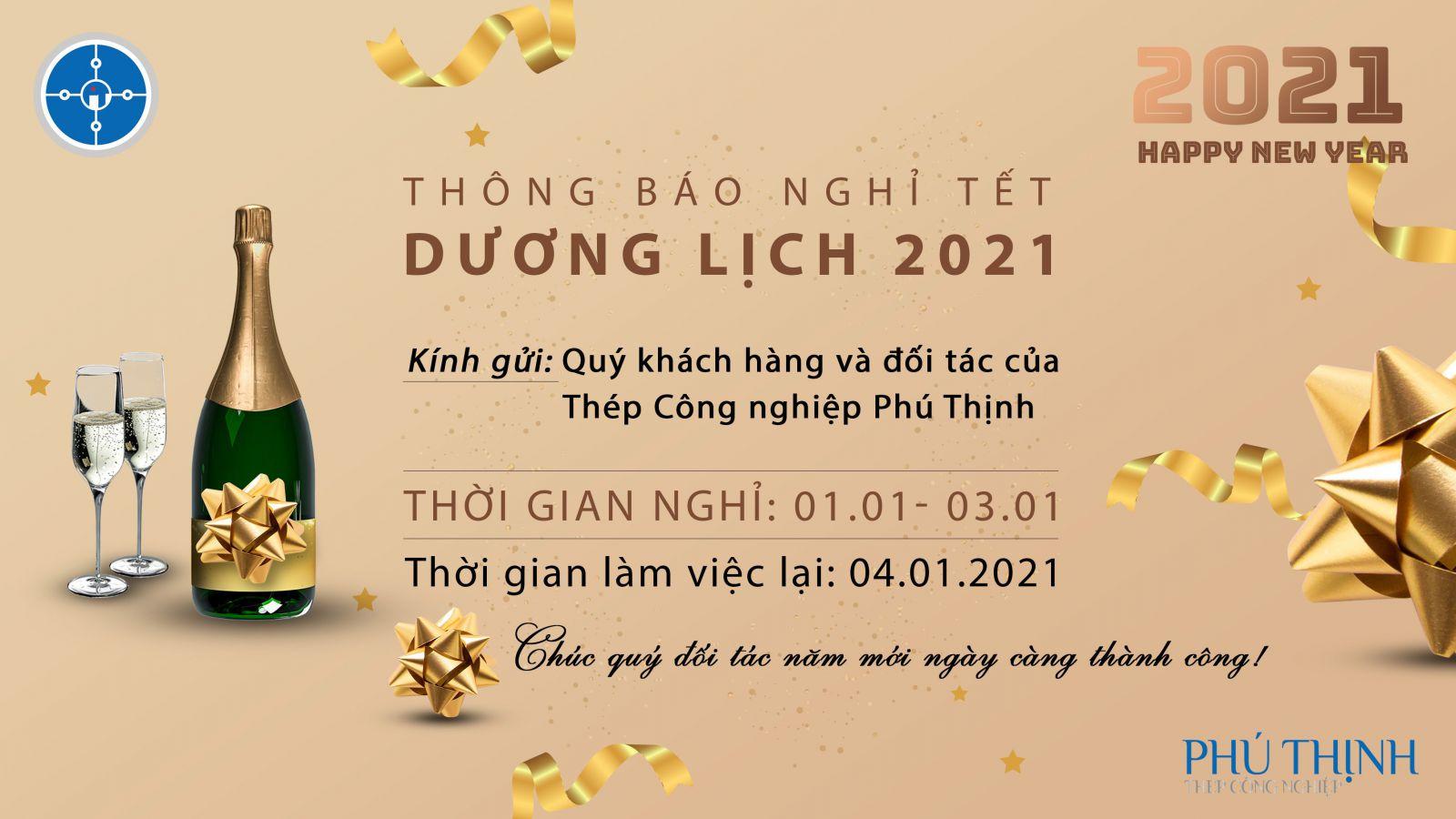 Thép công nghiệp Phú Thịnh thông báo lịch nghỉ tết Dương lịch 2021